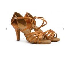 BD Dance 216 Damen Lateinsandalette dark tan Satin