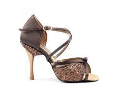 PORTDANCE 801 Brown Satin ProPremium Lateinsandalette 3