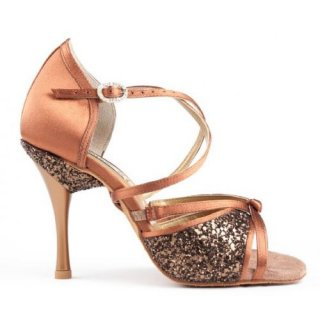 PORTDANCE 801 Bronze dark Satin ProPremium Lateinsandalette 2,5